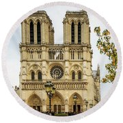 Notre Dame Cathedral Paris France Round Beach Towel
