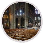 Round Beach Towel featuring the photograph Notre-dame by Jim Mathis