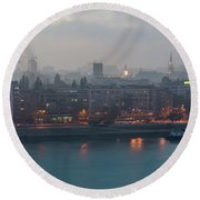 Novi Sad Night Cityscape Round Beach Towel