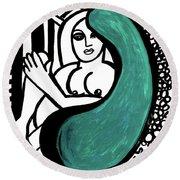 Nude Girl In Chair Original Art Signed Huge  Round Beach Towel