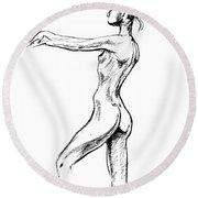 Nude Model Gesture Xviii Round Beach Towel