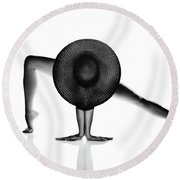 Nude Woman Black Hat Round Beach Towel