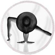 Nude Woman Black Hat Round Beach Towel