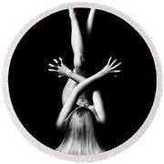 Nude Woman Bodyscape 3 Round Beach Towel