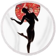 Nude Woman With Red Parasol Round Beach Towel