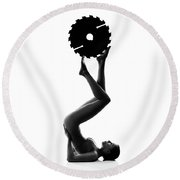 Nude Woman With Saw Blade 2 Round Beach Towel