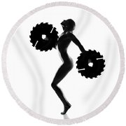 Nude Woman With Saw Blade 4 Round Beach Towel