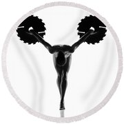 Nude Woman With Saw Blade 5 Round Beach Towel