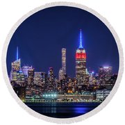 Nyc At The Blue Hour Round Beach Towel