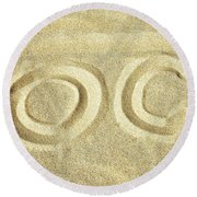 Round Beach Towel featuring the photograph O C In The Ocean City Sand by Bill Swartwout Fine Art Photography