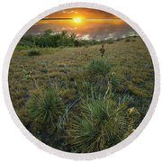 Round Beach Towel featuring the photograph Oahe Sunset  by Aaron J Groen