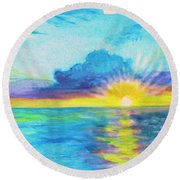Ocean In The Morning Round Beach Towel
