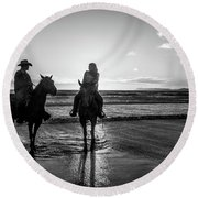 Ocean Sunset On Horseback Round Beach Towel