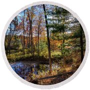 October Late Afternoon Round Beach Towel