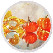 Round Beach Towel featuring the photograph October Reflections by Randi Grace Nilsberg