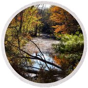 October Window Round Beach Towel