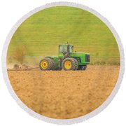 Round Beach Towel featuring the photograph Ohio Farmer by Dan Sproul