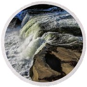 Ohiopyle Falls 1 Round Beach Towel