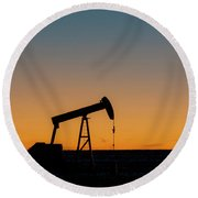 Round Beach Towel featuring the photograph Oil Pump After Sunset 03 by Rob Graham