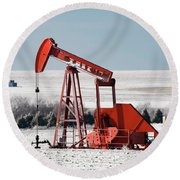 Round Beach Towel featuring the photograph Oil Pump And Frost 01 by Rob Graham