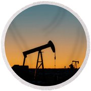 Round Beach Towel featuring the photograph Oil Pumps After Sunset 01 by Rob Graham