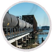 Oil Train Over Swinomish Channel Round Beach Towel
