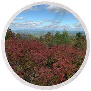 Round Beach Towel featuring the photograph Oklahoma Scenic Trail  by Robin Maria Pedrero