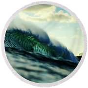 Round Beach Towel featuring the photograph ola Verde by Nik West