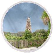 Old Baldy Lighthouse Bald Head Island Round Beach Towel