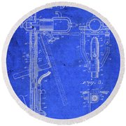 Old Boat Motor Vintage Patent Blueprint Round Beach Towel