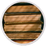 Round Beach Towel featuring the photograph Old Books by Carl Young