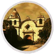 Old Carmel Mission - Watercolor Painting Round Beach Towel