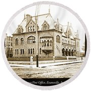 Old Customs House And Post Office, Evansville, Indiana, 1915 Round Beach Towel