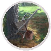 Old Farm Seeder, Louisiana Round Beach Towel