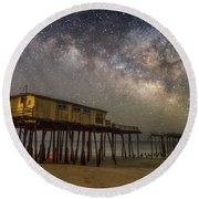 Old Frisco Pier Round Beach Towel