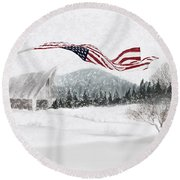 Old Glory In The Snow Round Beach Towel