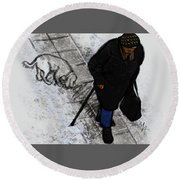 Round Beach Towel featuring the digital art Old Lady With A Dog by Attila Meszlenyi
