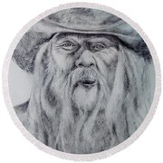 Old Man In A Hat  Round Beach Towel