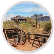 Round Beach Towel featuring the photograph Old Mining Days 1 by Dawn Richards