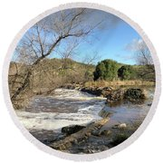 Old Mission Trail Dam And Flume Round Beach Towel