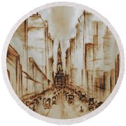 Old Philadelphia City Hall 1920 - Pencil Drawing Round Beach Towel