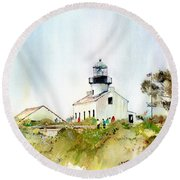 Old Point Loma Light Round Beach Towel