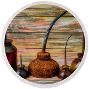 Old Rusty Oil Cans Round Beach Towel