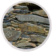 Old Schist Wall With Several Dates From 19th Century. Portugal Round Beach Towel