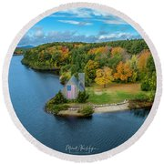 Round Beach Towel featuring the photograph Old Stone Church by Michael Hughes