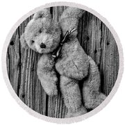 Old Teddy Bear Hanging On The Door In Black And White Round Beach Towel