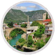 Old Town Of Mostar Bosnia And Herzegovina Round Beach Towel
