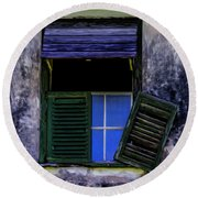 Round Beach Towel featuring the photograph Old Window 2 by Stuart Manning