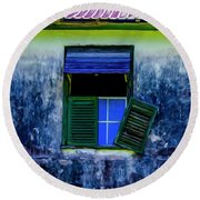 Round Beach Towel featuring the photograph Old Window 3 by Stuart Manning