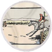 Round Beach Towel featuring the painting Omey Races, Galway by Val Byrne